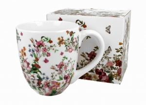 Kubek porcelanowy 1000 ml VINTAGE FLOWERS WHITE